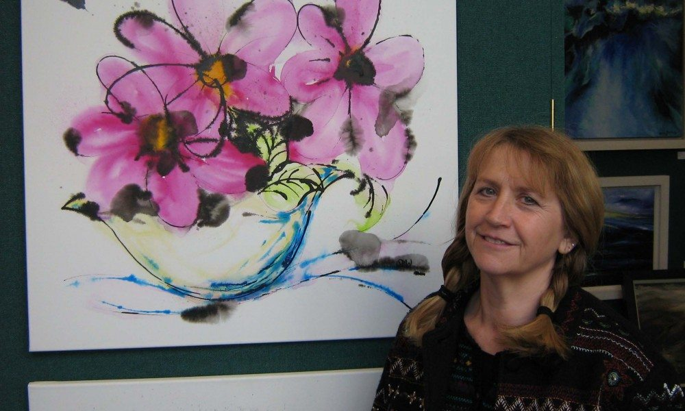 Susan Williams with her Flowers Can Dance piece