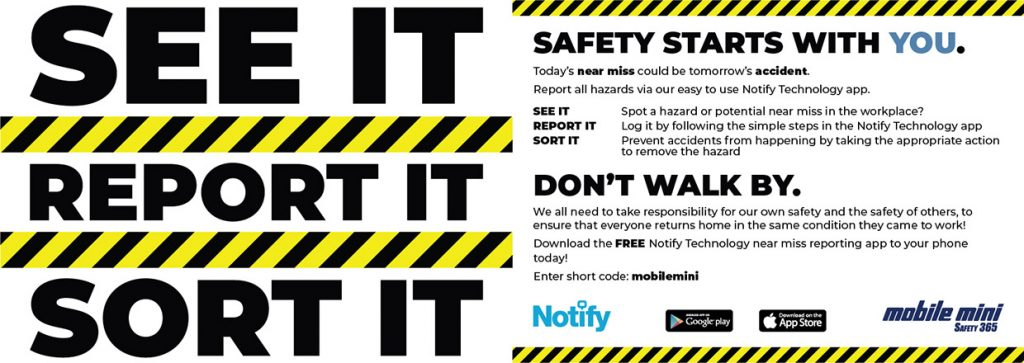 Mobile Mini 'See it. Report it. Sort it.' campaign postcard