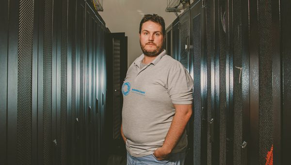 Nathan Platt, founder of Solid Blue Liquid, working in the datacentre