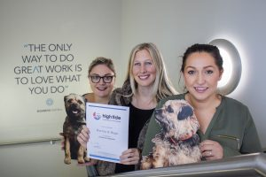 (L – R) Harvey & Hugo Account Manager, Lizzie Turner-Jones and Managing Director, Charlotte Nichols, High Tide General Manager, Lauren Bywater