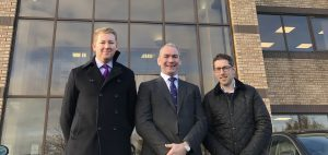 (L-R) Paul Mack, director at Gent Visick, James Bradley, senior associate at Langleys Solicitors and Russell Croisdale, managing director of Encore Group at the Dewsbury site.