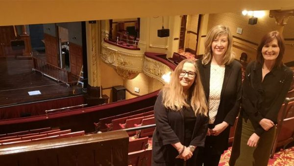 Latimer Hinks' Tobin, Hippodrome Director Lynda Winstanley and Darlington Building Society's Caroline Darnbrook at the Darlington Hippodrome theatre