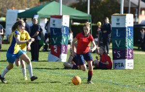 Lily Patrick playing at the finals of the ISA National Football Festival