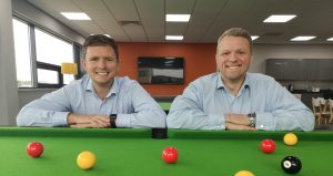 James Dale and Andy Dewing in Anderson Barrowcliff's new staff wellbeing area