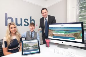 Hush Digital directors celebrate the launch of the rebranded Teesside International Airport website with Tees Valley Mayor, Ben Houchen