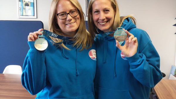 Jenn and Charlotte with their medals from Great North Run